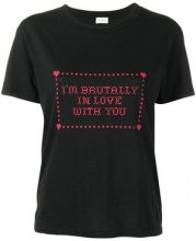 Saint Laurent - I'm Brutally In Love With You print T-shirt - women - Cotton - XS, S, M, L - BLACK