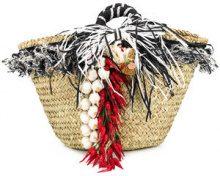 Emanuela Caruso - Borsa decorata - women - Straw/Raffia/Cotton - OS - NUDE & NEUTRALS
