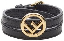 Fendi - F Is Fendi bracelet - women - Calf Leather/Brass - S, M - Nero