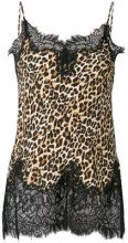 Gold Hawk - lace trim leopard print blouse - women - Silk/Viscose/Cotone/Nylon - XS, S, M, L - BROWN