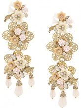 - Marchesa Notte - floral earrings - women - Crystal/Gold Plated Brass - Taglia Unica - Giallo & arancio