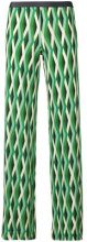 Siyu - geometric print straight trousers - women - Spandex/Elastane/Viscose - 34 - GREEN