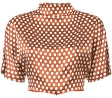 Dvf Diane Von Furstenberg - polka dot cropped blouse - women - Silk - XS, S, M - BROWN