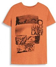 ESPRIT 047ee2k019-Print, T-Shirt Uomo, Arancione (Rust Orange), Small