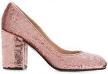 Pollini - Pumps con lustrini con tacco a blocco - women - Leather/Polyester - 36, 36.5, 37, 40 - PINK & PURPLE