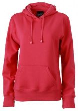 James & Nicholson Sweatshirt Hooded, Felpa Donna, Rosa (Pink), Small