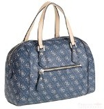 Guess College Logo Box Satchel Borsa a Mano, Donna, Blu (Midnight)