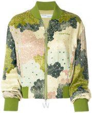 Off-White - Bomber con stampa a fiori - women - Polyester/Spandex/Elastane/Viscose - 40, 38, 42 - Verde