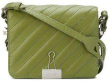Off-White - padded Binder Clip shoulder bag - women - Leather - OS - Verde