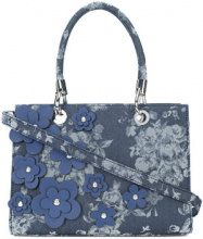 Christian Siriano - floral appliqué denim tote bag - women - Polyester - OS - Blu