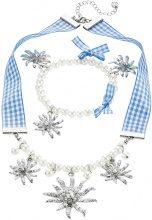 Parure di collier e bracciale Quadretti e perle