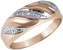 Goldmaid Anello da Donna, Oro Rosa 375, Diamante, Rotondo, Misura 60 (19.1)