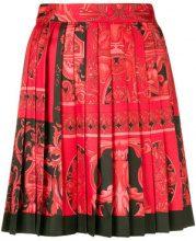 Versace - Gonna plissettata con stampa barocca - women - Silk - 38, 40, 42, 44 - Rosso