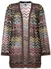 M Missoni - chevron cardigan - women - Polyamide/Cotton/Metallic Fibre/Polyester - 44 - Nero