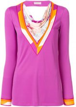 Emilio Pucci - scarf panel longsleeved blouse - women - Viscose/Silk - 40, 42, 44, 46, 48, 38 - Rosa & viola