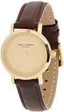 Lars Larsen 124GGBLL - Orologio Analogico con Quadrante Dorato e Cinturino Marrone da Donna