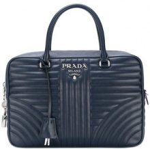 Prada - quilted logo tote bag - women - Calf Leather - One Size - BLUE