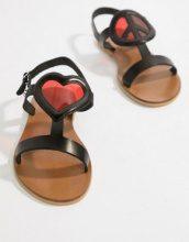 Love Moschino - Sandali bassi con cuore - Nero