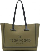 Tom Ford - medium T tote - women - Bos Taurus/Calf Leather/Cotone/Brass - OS - GREEN