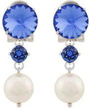 - Miu Miu - jewel pearl drop earrings - women - Brass/Pearls - OS - Blu