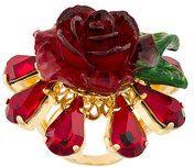 Dolce & Gabbana - crystal rose ring - women - Resin/Brass/Crystal - 52 - RED