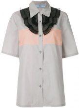 Prada - Camicia con pettorina increspata - women - Cotone/Polyester - 38, 40, 42 - Grigio