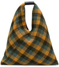 - Mm6 Maison Margiela - Japanese checked tote bag - women - lana/cotone - Taglia Unica - di colore giallo