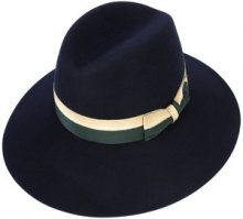 Maison Michel - two-tone bow fedora hat - women - Wool Felt - M - Blu