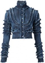 Dsquared2 - frayed denim jacket - women - Cotone/Spandex/Elastane - 40, 44 - BLUE