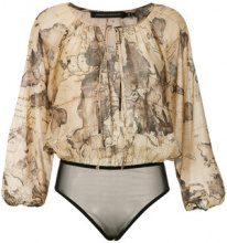 Andrea Marques - map print bodysuit - women - Cotone - 38, 42, 44 - unavailable
