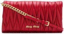 Miu Miu - quilted logo clutch bag - women - Lamb Skin - One Size - Rosso