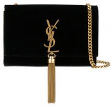 Saint Laurent - Kate Monogram tassel shoulder bag - women - Velvet/metal - OS - BLACK