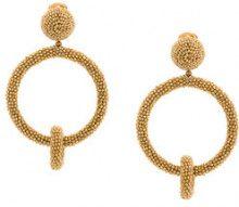 Oscar de la Renta - Orecchini con doppio cerchio - women - glass/metal/copper/Brass - OS - Metallizzato