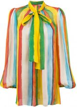Dolce & Gabbana - rainbow stripe blouse with pussy bow - women - Silk - 40, 42 - MULTICOLOUR