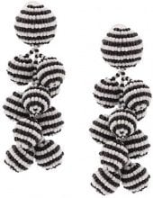 Sachin & Babi - Coconuts striped clip-on earrings - women - Glass Fiber - OS - Bianco
