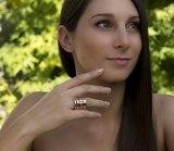 Adens Jewels 2Colors - Anello placcato oro, anelli multipli, con pietra sintetica colore granato