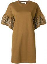See By Chloé - Vestito modello T-shirt - women - Cotton - S - BROWN