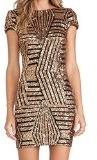Paillettes oro dal fodero Backless vestito delle donne