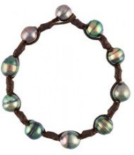 Mignot St Barth - 'Ron' bracelet - women - Leather/Pearls - M - BROWN