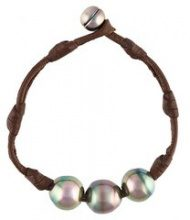 Mignot St Barth - 'Isa' bracelet - women - Leather/Pearls - S - BROWN