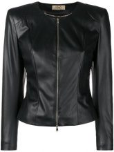 Liu Jo - zip fitted jacket - women - Polyester/Poliuretano Resina/Acetate - 40, 42, 44, 46 - Nero