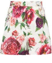 Dolce & Gabbana - peonie print brocade shorts - women - Cotone/Silk/Viscose - 40, 42, 44, 46 - WHITE
