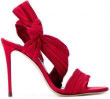 Casadei - micro-pleated sandals - women - Silk Satin/Leather/Satin - 35, 35.5, 36, 36.5, 37, 37.5, 38, 38.5, 39, 39.5, 40, 40.5, 41 - RED