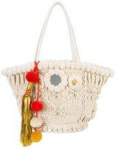 Figue - Tuk Tuk tote bag - women - Acrylic/Bos Taurus/Shell/IutaCotone - One Size - Bianco