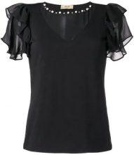 Liu Jo - ruffled loose blouse - women - Cotone/Spandex/Elastane/Polyester - 40, 46 - Nero