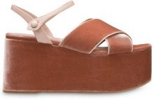 Miu Miu - Sandali con zeppa - women - Velvet/Leather - 34, 35, 35.5, 36, 36.5, 38, 38.5, 39, 39.5, 40, 41 - BROWN