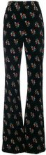 Sonia Rykiel - velvet floral print flared trousers - women - Cotone/Spandex/Elastane/Viscose - 36 - Nero