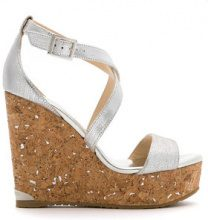 Jimmy Choo - Sandali con zeppa - women - Leather - 36, 38, 40, 41 - Metallizzato
