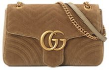 Gucci - GG Marmont velvet medium shoulder bag - women - Velvet/Leather/Satin - OS - Marrone