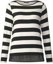 Street One u-Boat Shirt with Layer, Maglietta a Maniche Lunghe Donna, Schwarz (Black 20001), 40